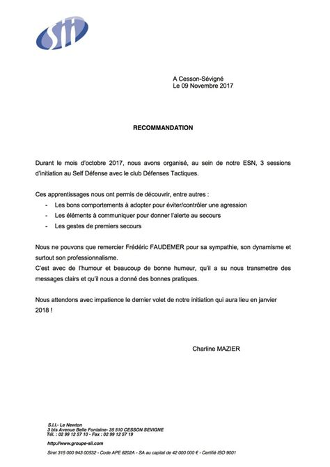 Lettre De Recommandation Forme Defenses Tactiques Www Defensestactiques Fr