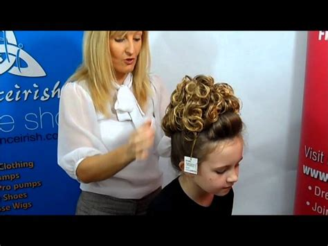 how to put on a irish dance wig french braids how to put on a caitlyn loose curl irish dancing bun wig