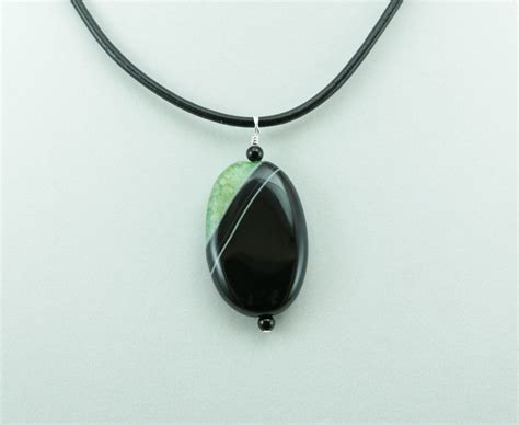 photo engraved pendant necklace green and black agate