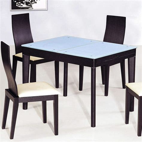 Modern Dining Table Chairs Extendable Wooden With Glass Top Modern Dining Table Sets