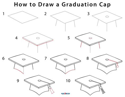 How To Draw A Cap And Gown how to draw a graduation cap step by step pictures