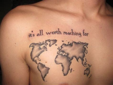 creative design tattoos chest creative world map designs