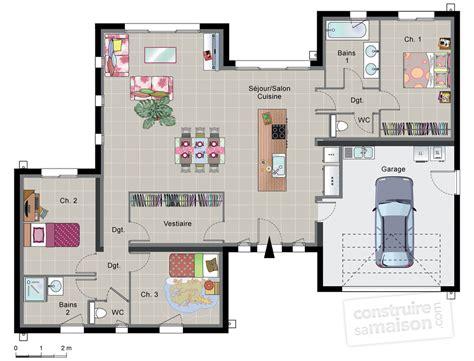 faire des chambres d h es maison contemporaine de plain pied d 233 du plan de