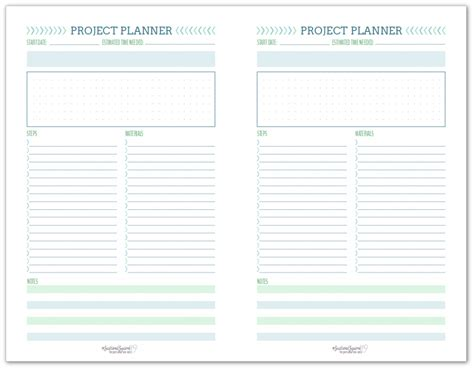 New Project Planning Printable Set Scattered Squirrel Project Notebook Template