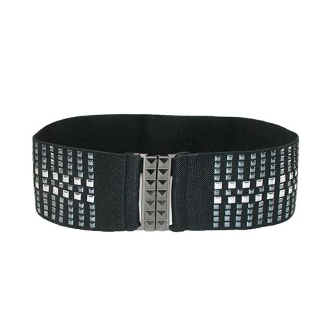 womens wide studded stretch belt by ctm 174 dress belts