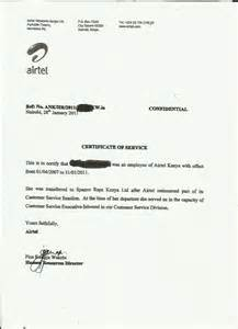 Service Letter Certificate The Airtel Kenya V Staff Employees Saga Spanco Outsorcing Communication The Artivist