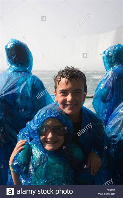 niagara falls boat trip maid of the mist children in raincoats on board the maid of the mist boat