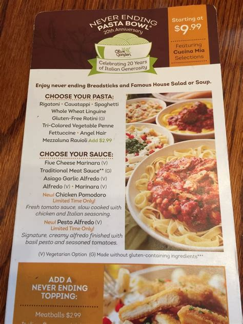 olive garden menu take out