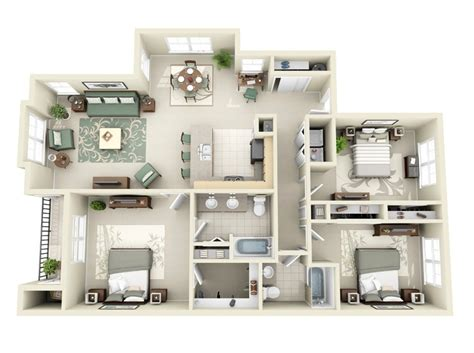 three bedroom two bathroom apartment 3 bedroom apartment house plans