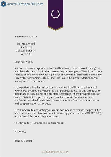 exle cover letters for resume cover letter sles