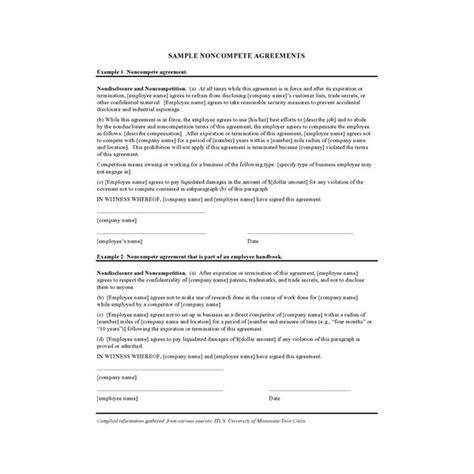 Non Compete Agreement Sle Letter Non Compete Agreement Template Non Compete Agreement
