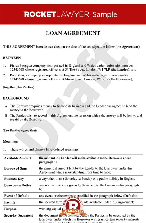 loan agreement loan contract loan agreement template