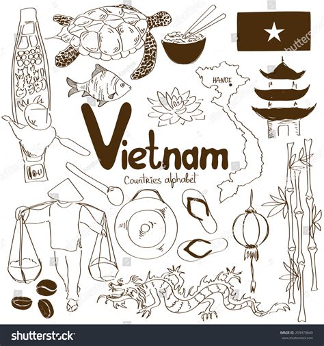 doodle viet nam sketch collection icons countries stock