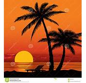 Sunset Beach Silhouette Clipart