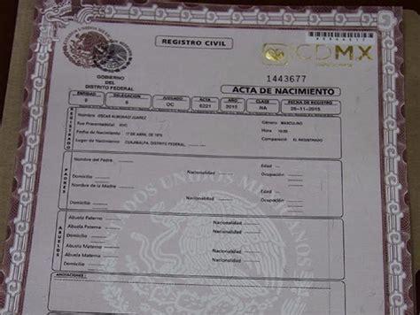 D F Df acta de nacimiento cdmx df certificada 349 00 en