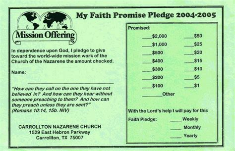 Financial Pledge Letter Sle Faith Promise Commitment Or Pledge Card