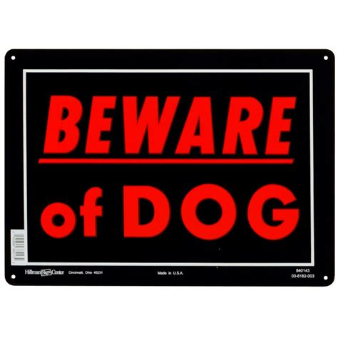 in your house beware of dog shop hillman sign center 10 in x 14 in beware of dog sign at lowes com