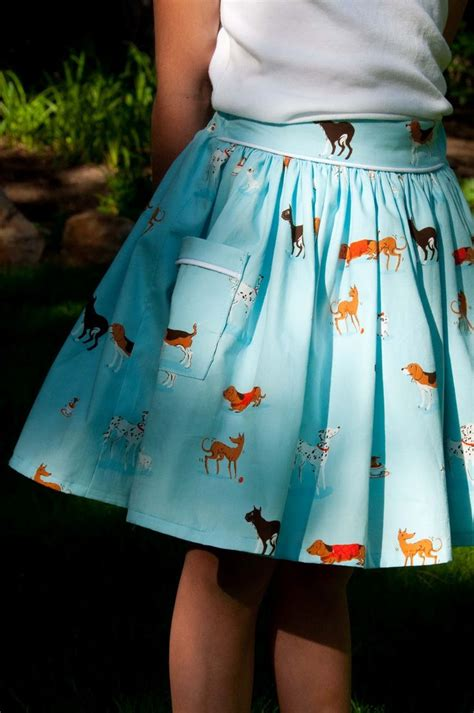 cute kilt pattern aesthetic nest sewing dog skirt with piped pocket