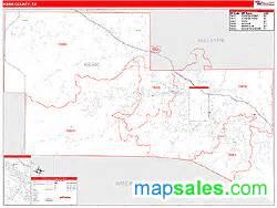 kerr county tx zip code wall map line style by marketmaps