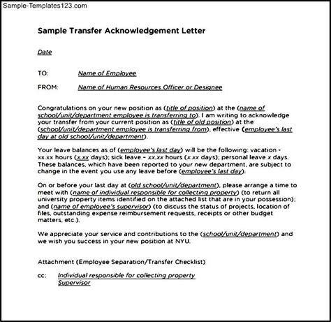 Acknowledgement Letter Partner Visa Sle Transfer Acknowledgement Letter Template Pdf Sle Templates
