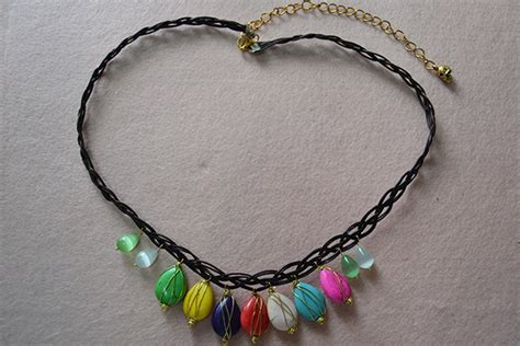 how to make a braided black leather necklace tutorial