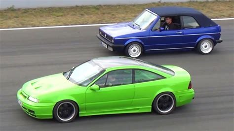 opel calibra turbo opel calibra 2 0 turbo vs vw golf cabrio 1 4 mile drag