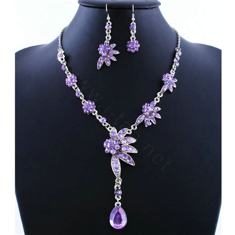 Waterdrop Flowers Pendant Necklace Pair Of Earrings buy wholesale high quality wedding bridal jewelry alloy water drops flower purple rhinestone