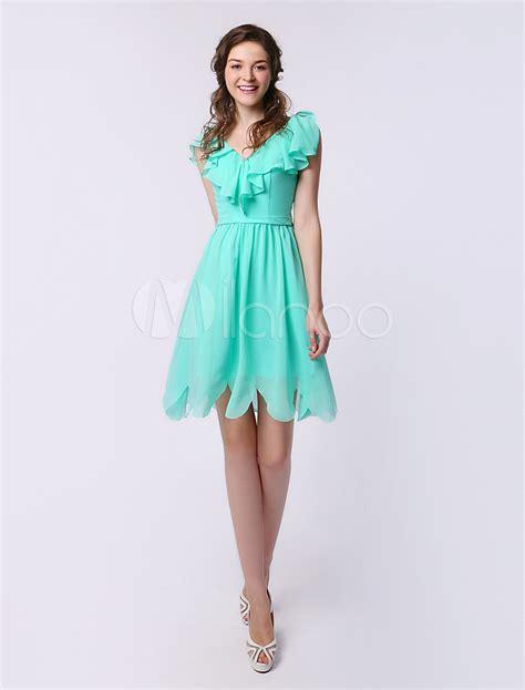 Id 234 V Neck Ruffle Dress Green bridesmaid dress mint green v neck ruffle chiffon a line dress milanoo milanoo