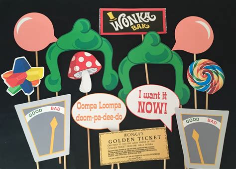 willy wonka themed party photo booth props