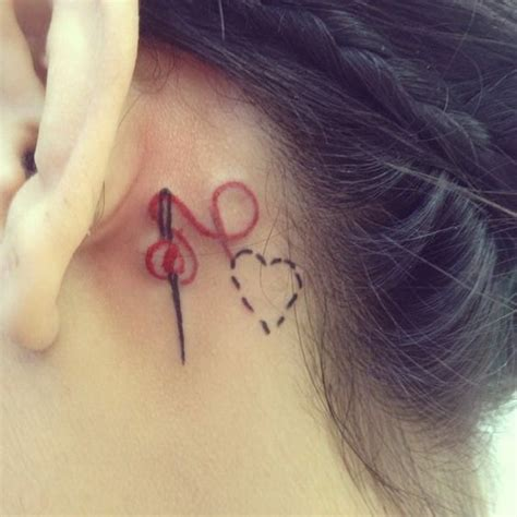 needle and thread tattoo 50 most beautiful the ear tattoos that every