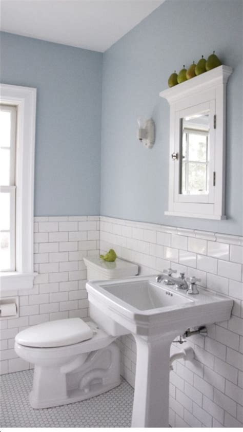 wainscot tile floors and subway tile wainscoting home powder room in