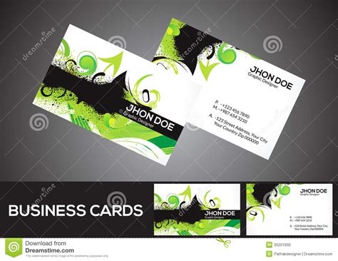 Green Business Card Template Vector by Abstract Green Business Card Template Stock Vector Image