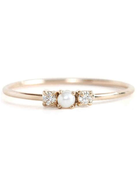 pearl engagement rings pretty pearl engagement rings martha stewart weddings