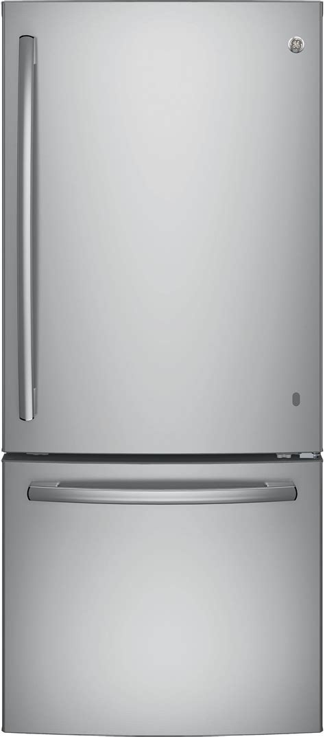 French Door Refrigerator With Dual Ice Makers - ge gbe21dskss 30 inch bottom freezer refrigerator with 20 9 cu ft capacity led lighting 2