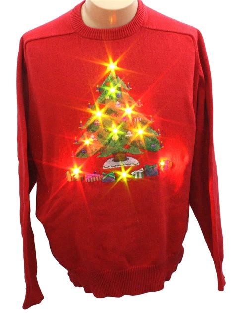 lightup ugly christmas sweater jockey unisex red