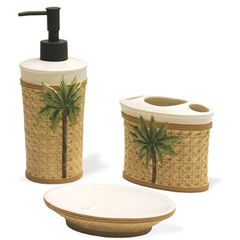 Better Homes And Gardens Palm 3 Piece Bath Accessories Set Walmart Bathroom Accessories