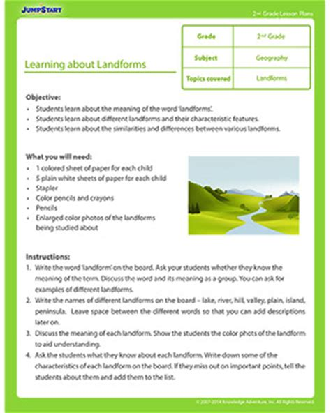 printable lesson plans for 2nd grade learning about landforms printable 2nd grade lesson