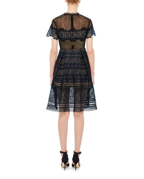 Felicia Dress Navy Bn559x self portrait felicia lace mini dress in black navy save 30 lyst