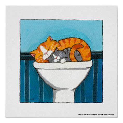 Bathroom Design Center ginger and smokey whimsical cat art print zazzle