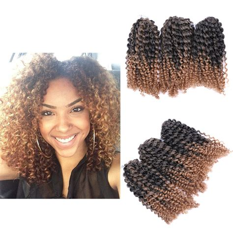 8 quot ombre afro curly crochet braids marlybob braid hair extensions 3pcs set 6841113155768