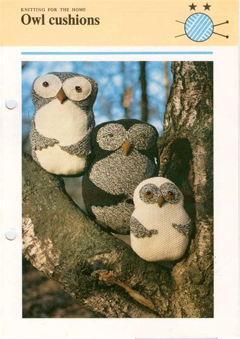 knitting pattern owl cushion vintage owl cushion pillow knitting pattern pdf owl toy