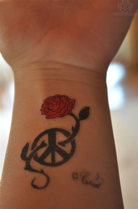 peace tattoos on wrist roses and peace tattoos on wrist