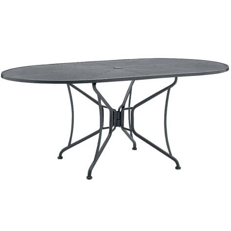 Oval Patio Table Pictured Is The 42 Quot X 72 Quot Mesh Top Oval Dining Table With Umbrella By Woodard Outdoor