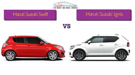 Suzuki Comparison Maruti Suzuki Vs Maruti Suzuki Ignis Spec Comparison