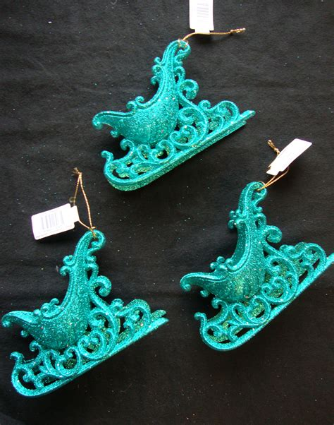 3 x turquoise 3d large sleigh christmas tree hanging