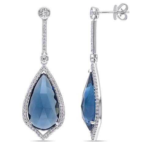 Blue Sapphire 24 00ct pear blue topaz fashion earrings 14k white gold
