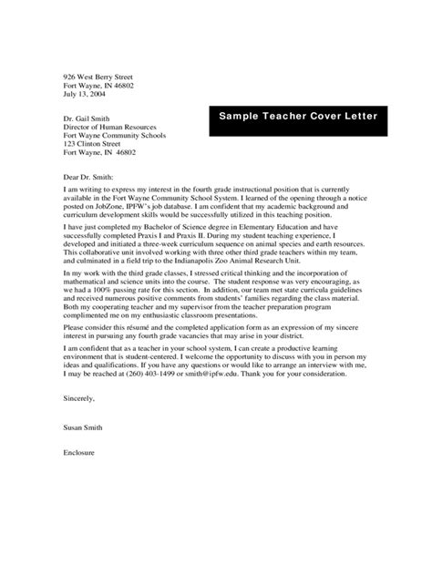 exle teaching cover letter cover letter exles 4 free templates in pdf