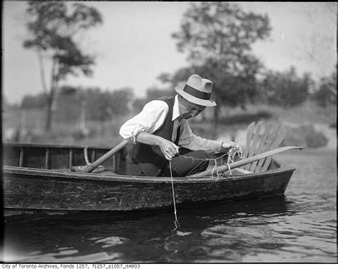 man fishing in boat vintage fishing photographs from toronto