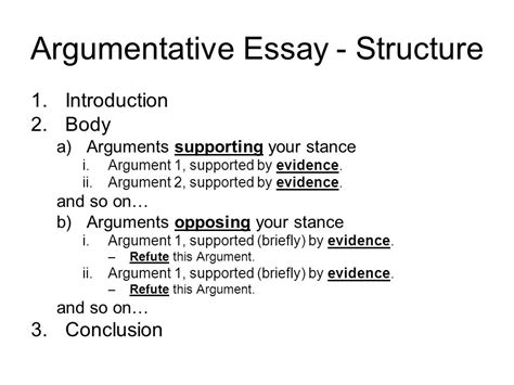 Structure Of An Argumentative Essay by Structuring Your Essay Ppt