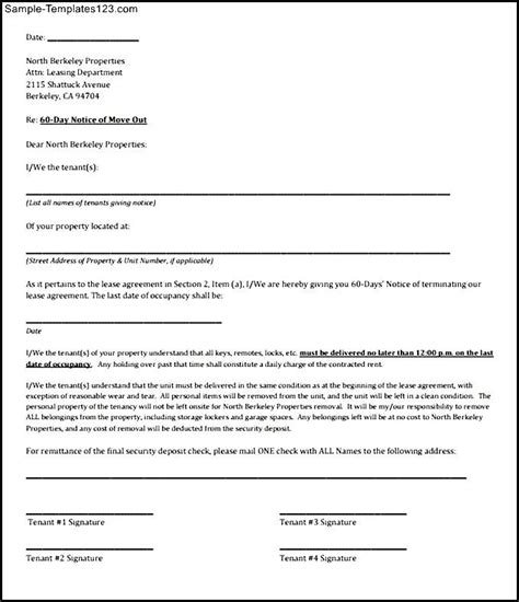60 day rental termination letter pdf printable sle